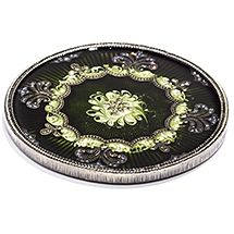 Green Jeweled Wine Bottle Coaster