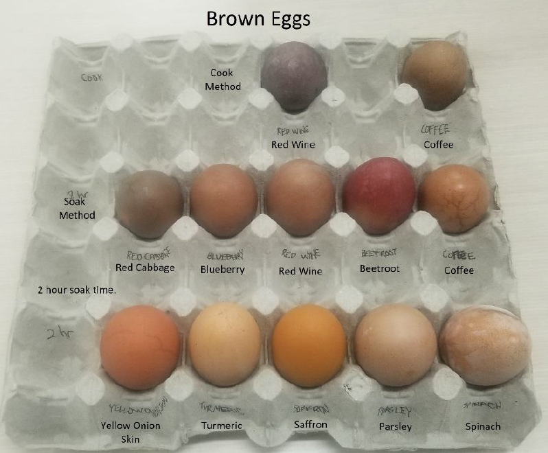 Tray of brown dyed eggs