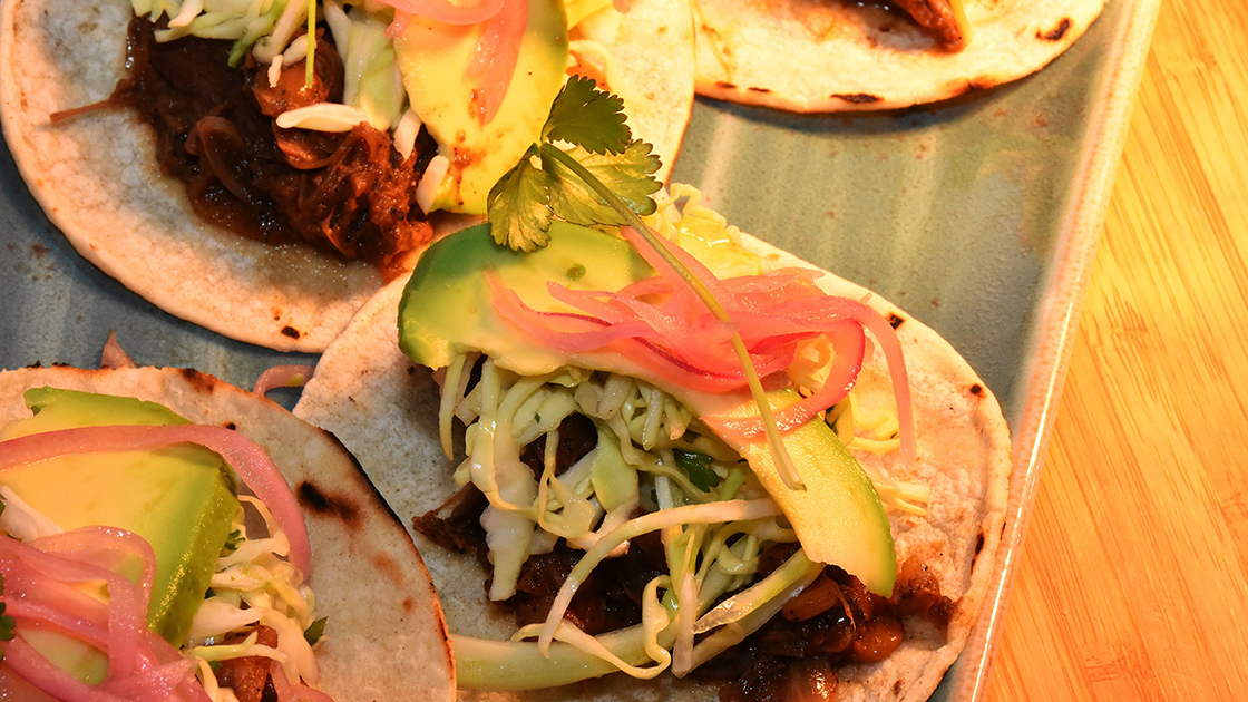 BBQ Jackfruit Tacos with Salsa Verde and Corn Tortillas.