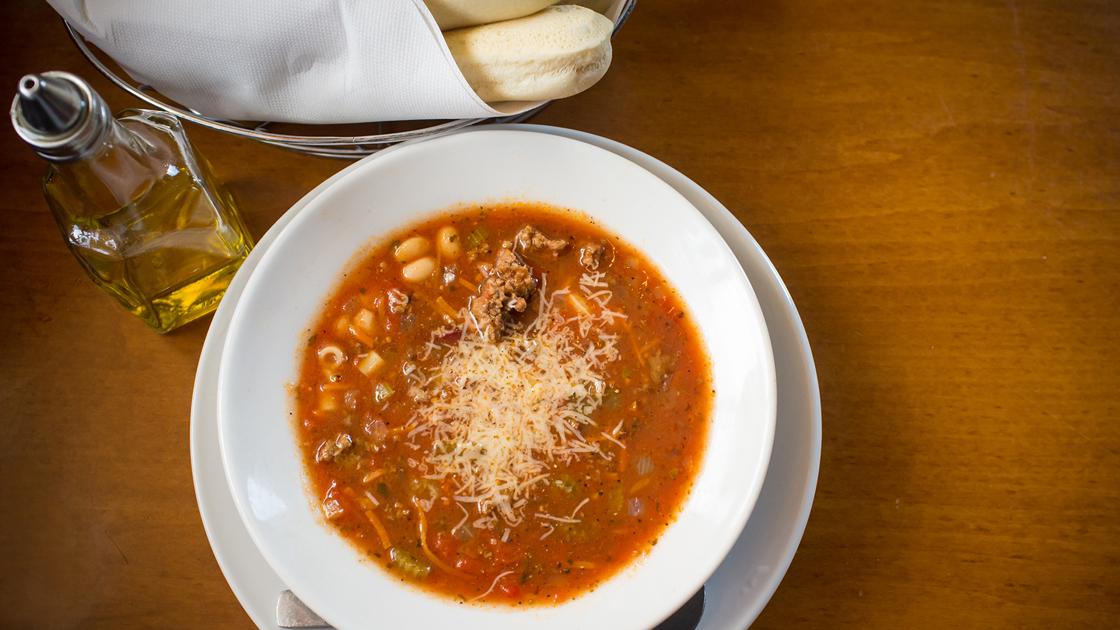A bowl of pasta fagioli soup.