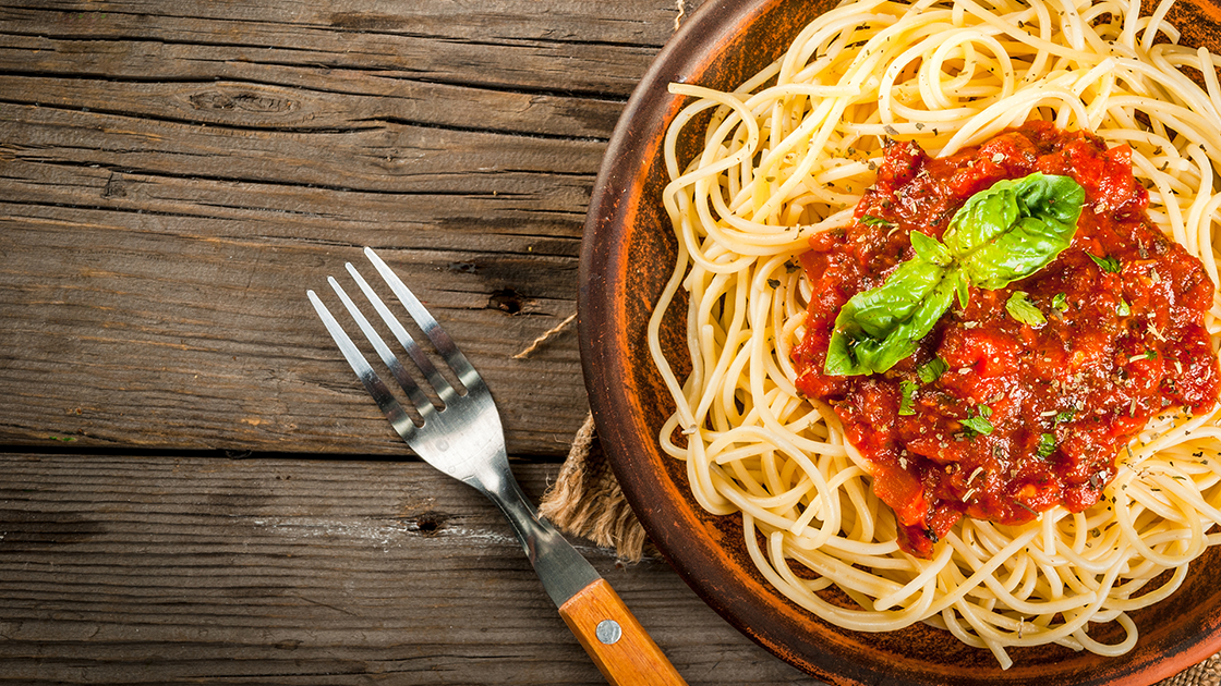 Pasta sauce with spaghetti.