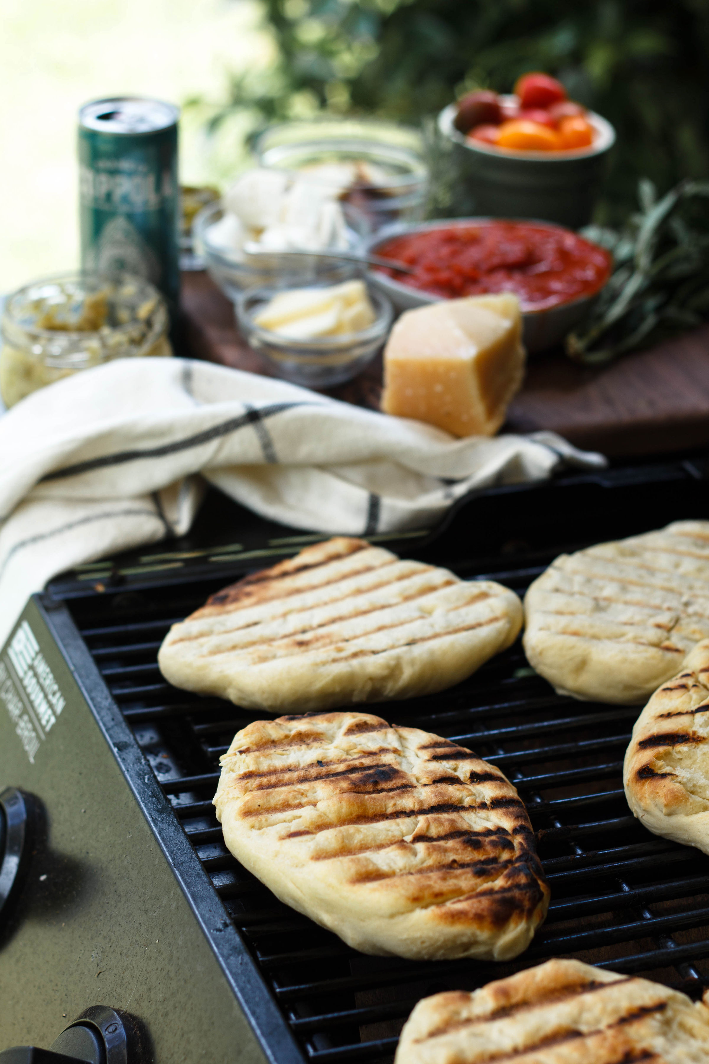Pizza dough with grill marks