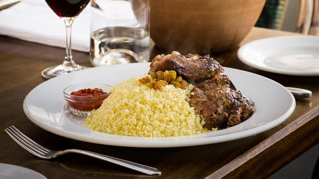 Lamb Marrakesh and a glass of red wine.