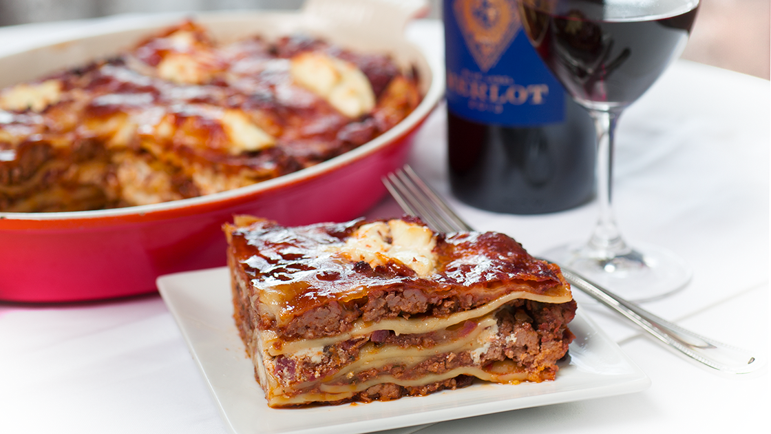Plate of lasagna.
