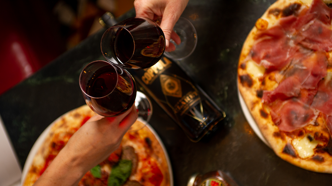 Pizza and Claret.