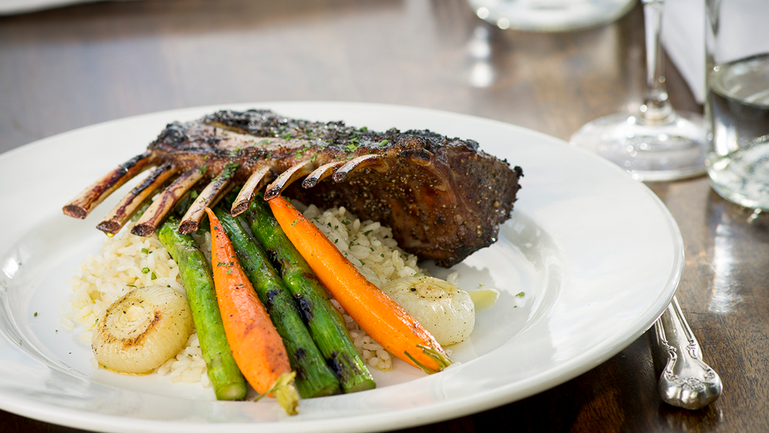 Plate of lamb and carrots.