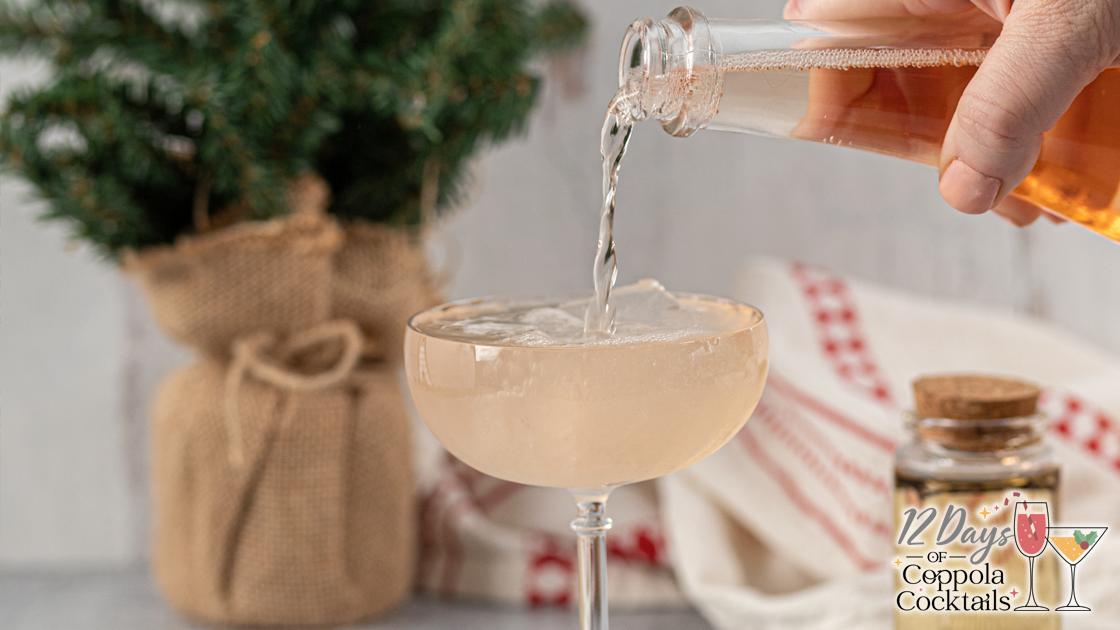 Sofia Rosé wine poured into a cocktail glass.