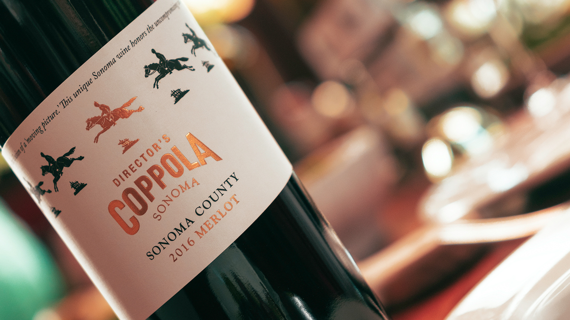 A closeup of the Francis Coppola Director's Sonoma County Merlot label.