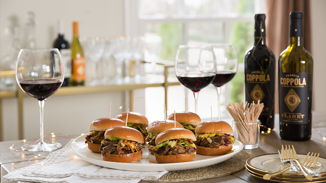 Beef Short Rib Sliders with Francis Coppola Claret.