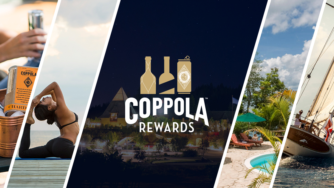 A collection of various Coppola Rewards, including wine experiences and travel adventures.