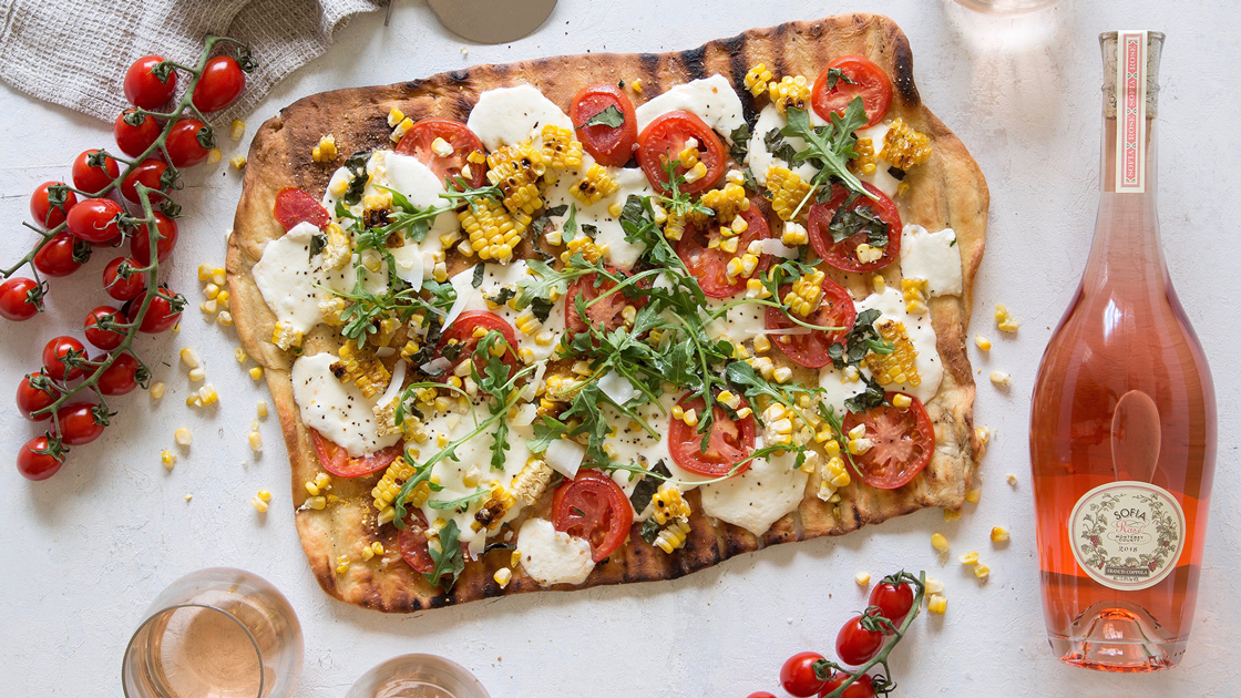 Grilled Corn and Tomato Pizza.