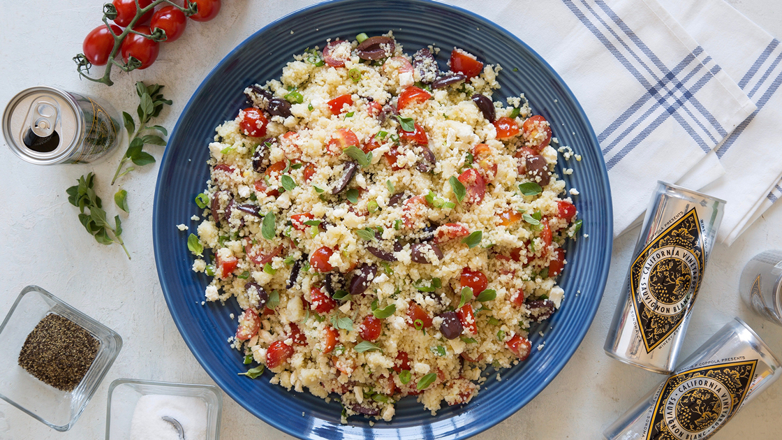 Couscous with Tomatoes, Olives and Feta Cheese.