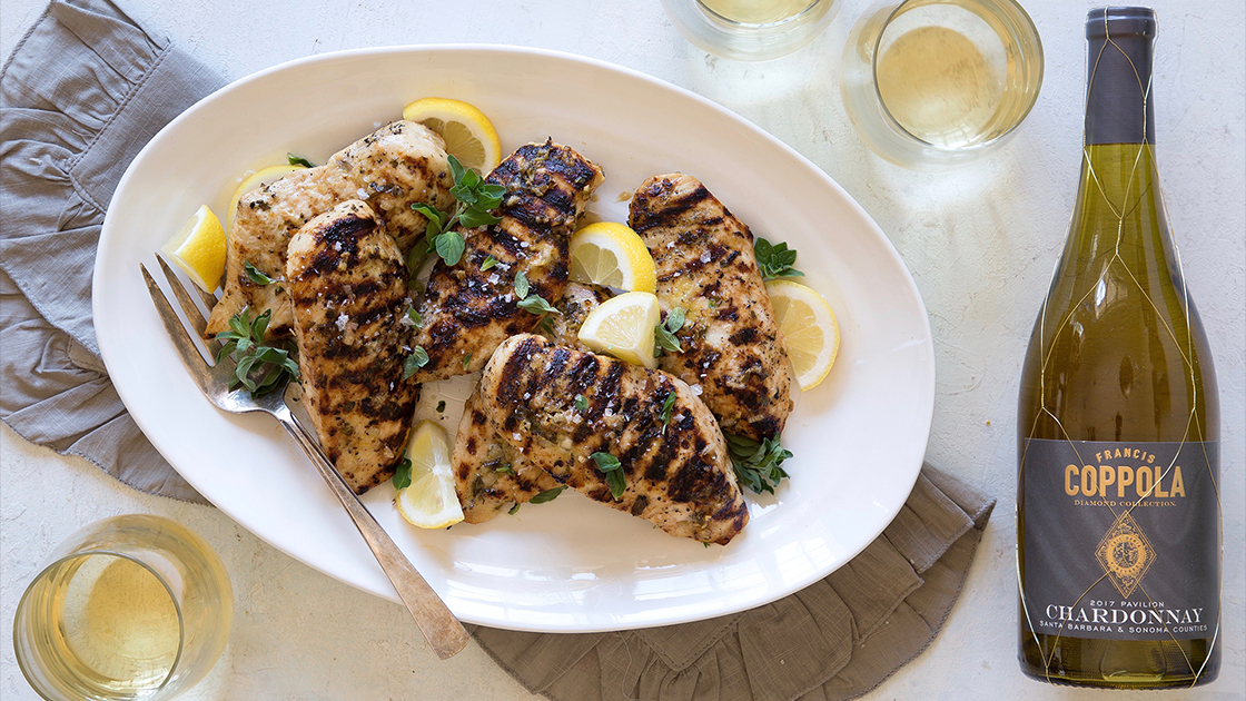 Lemon Oregano Grilled Chicken with Diamond Collection Pavilion Chardonnay.