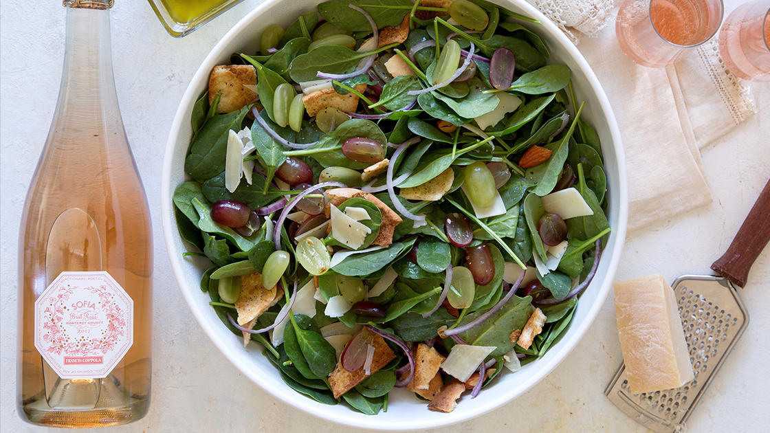 Spinach Salad with Grapes and Lemon-Oregano Vinaigrette Recipe.