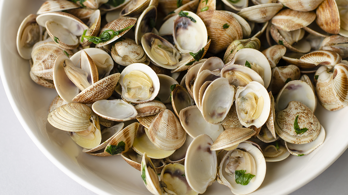 Bowl of steamed clams.