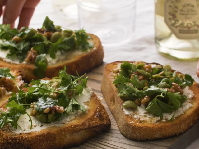 Grilled Bread, Goat Cheese & Green Olive Salad Recipe.
