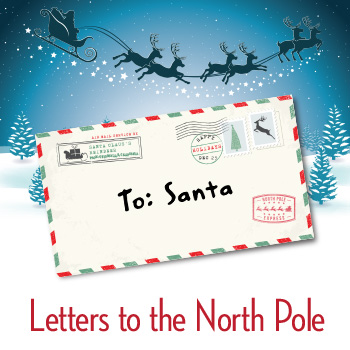Envelope addressed to Santa and a winter night sky with a sleigh and reindeer.