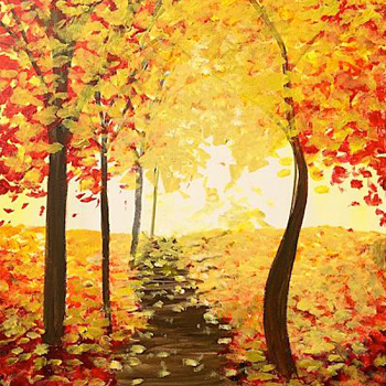 Painting of a autumn tree lined path.