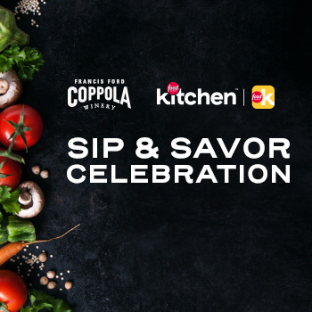 A variety of vegetables on a black marble surface with the words Sip & Savor Celebration.