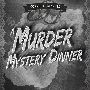 Coppola Presents A Murder Mystery Dinner with lace, wedding rings and roses.