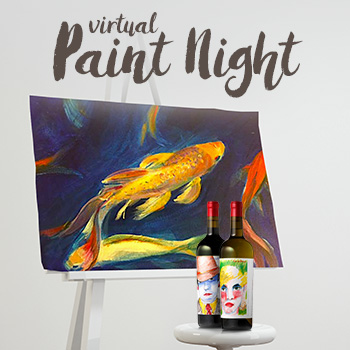 Virtual Paint Night with wine bottles and  a canvas with a koi fish painting.