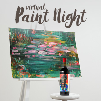 A canvas with a painting of lily pads, next to a bottle of wine.