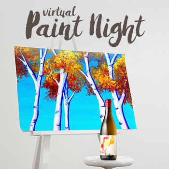 Canvas with a painting of trees on it and a bottle of wine.