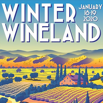 Colorful illustration of a vineyard and hills with the words Winter Wineland.