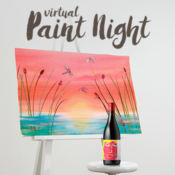 Virtual Paint Night with a wine bottle and a canvas.
