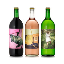 Three bottles of Gia wine