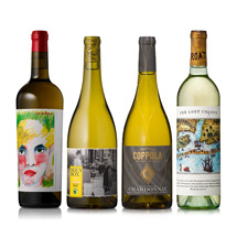 four assorted white wines