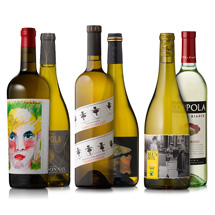 six assorted white wines