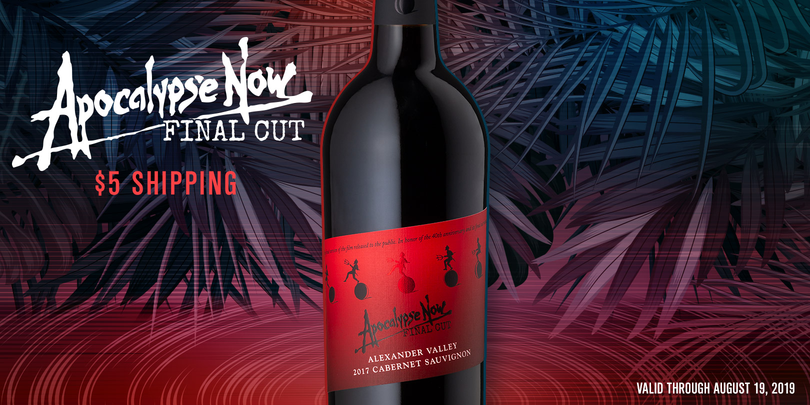 Apocalypse Now Final Cut wine bottle and $5 Shipping on a jungle background.. - Featured Item