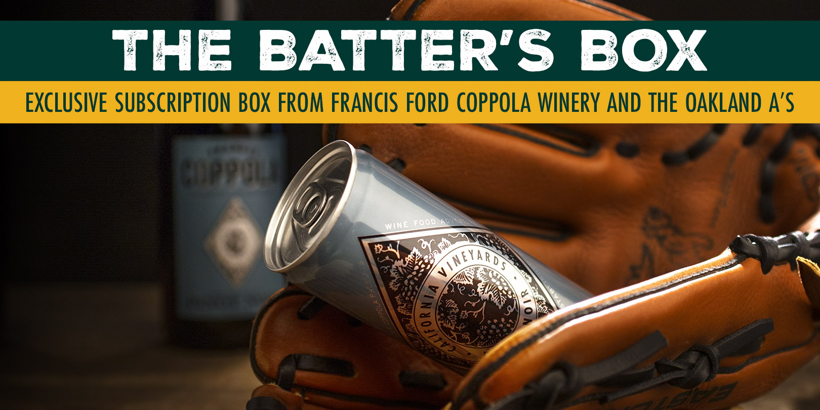 The Batter's Box Subscription ad with a wine can inside a baseball mitt. - Featured Item
