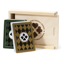 two decks of cards with wooden box