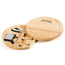 wooden cheese board with tools