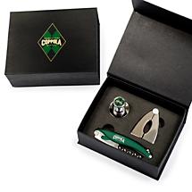Corkscrew and stopper gift set box.