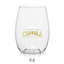 Stemless wineglass with Francis Ford Coppola logo