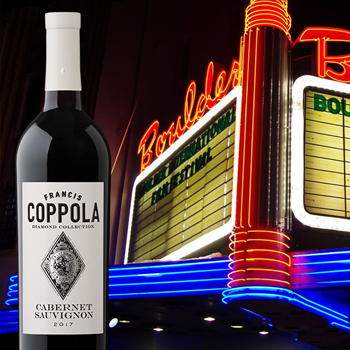 Movie theatre marquee and a bottle of Francis Coppola Diamond Collection Cabernet Sauvignon wine.