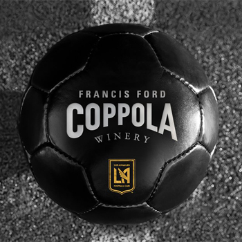 Black Soccer ball with the Francis Ford Coppola Winery logo on it.