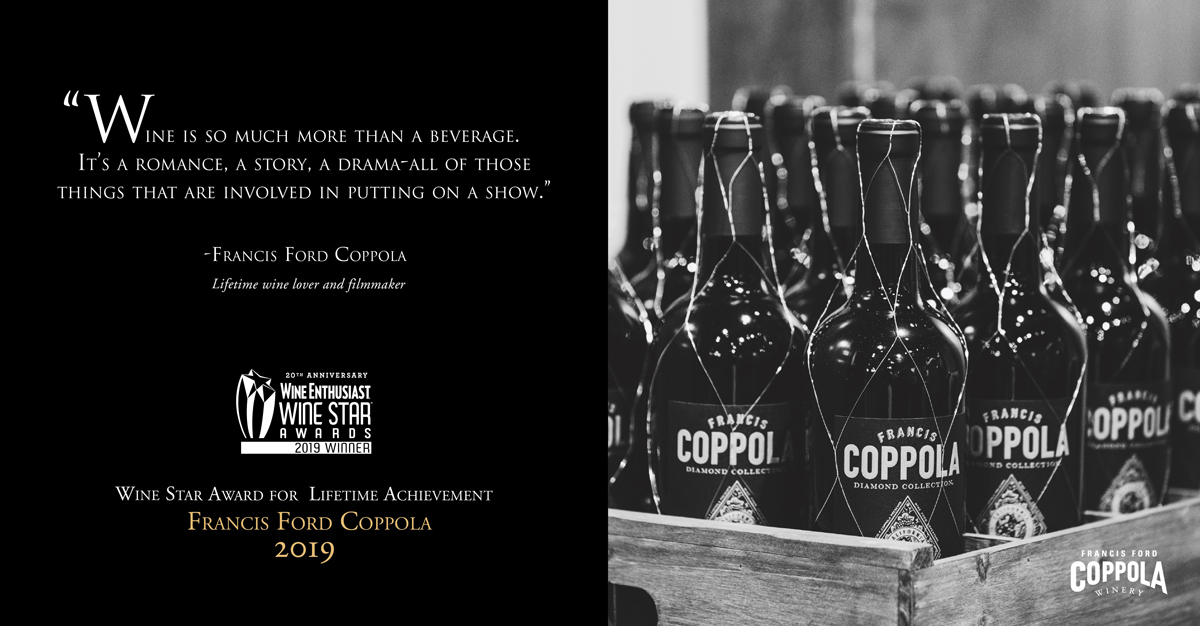 A crate of Claret wine bottles in black and white with a quote from Francis Ford Coppola.