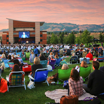 Crowded lawn seating at Green Music Center.