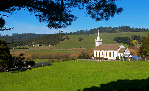 Saint Teresa of Avila Church and a lush green pasture in Bodega Bay