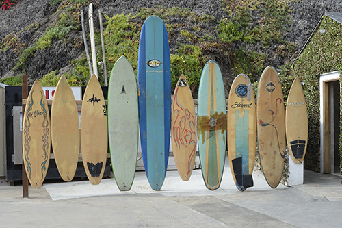 A line of surfboards in the sand.