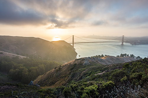 Golden gate bridge and the Marin headlands.