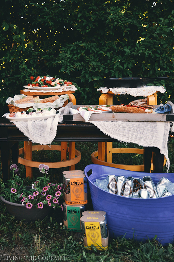 Backyard party with a table filled with various platters of food and a large bucket filled with ice and cans of Diamond wine.