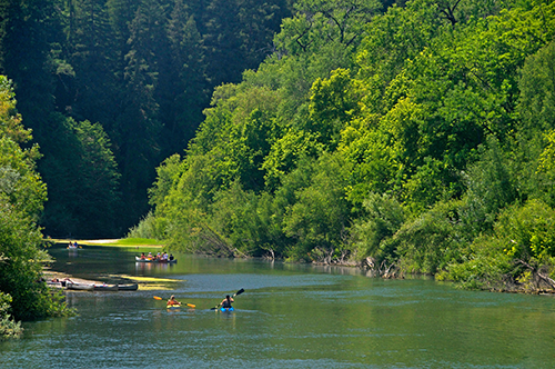 People kayaking down the Russian River.