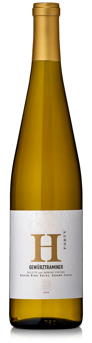 Bottle of H Party Gewürztraminer white wine.