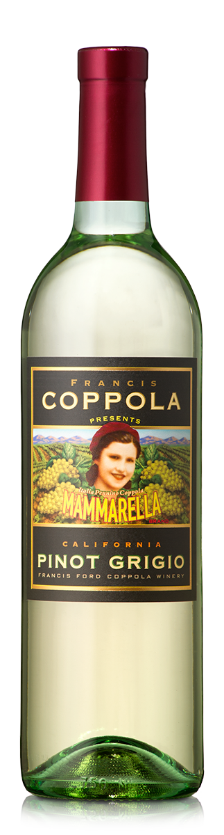 Bottle of Mammarella Pinot Grigio.