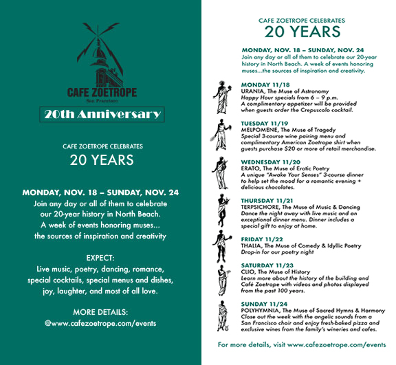 Join any day or all of them to celebrate our 20-year history in North Beach. A week of events honoring muses... the sources of inspiration and creativity